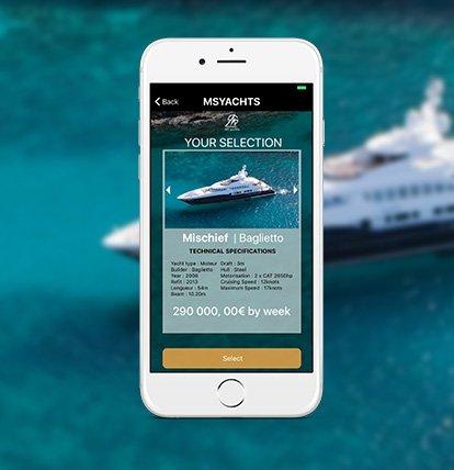 Application mobile MS Yacht pour les informations sur le bateau