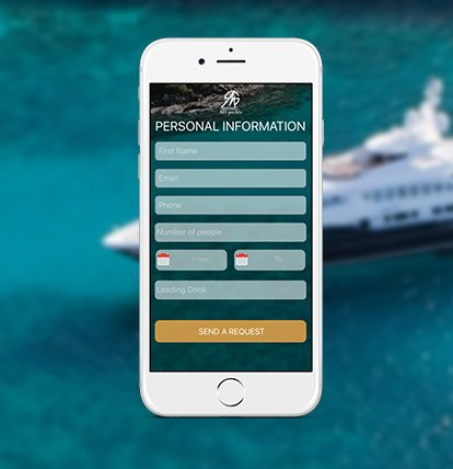 application mobile MS yacht pour renseigner les informations personnelles