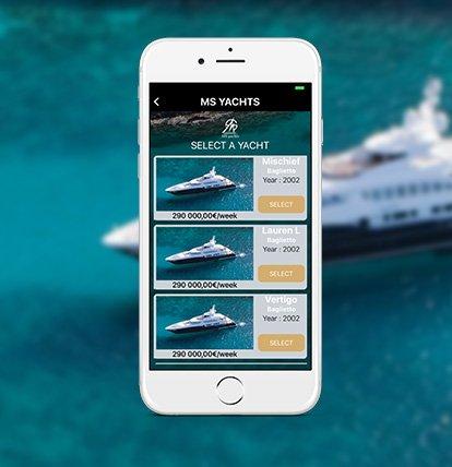 application mobile ms yacht pour la sélection de bateau