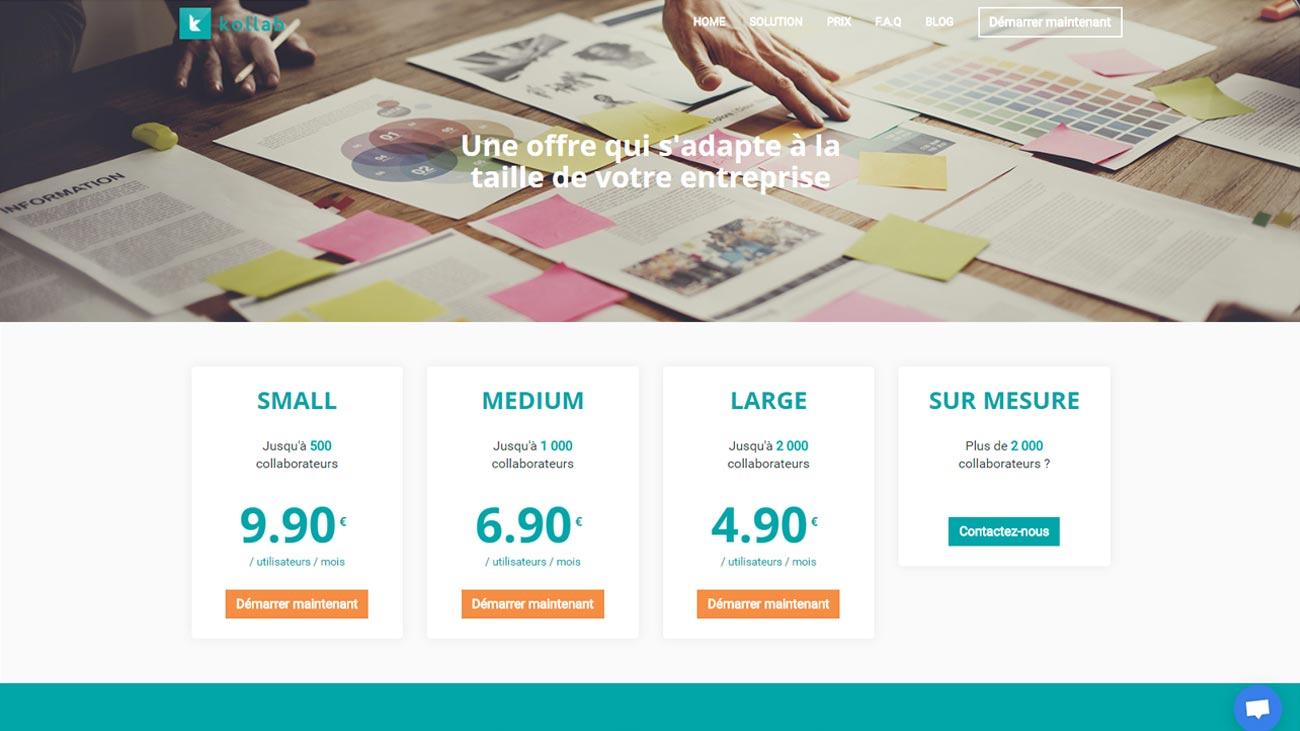 Page des prix pour Kollab