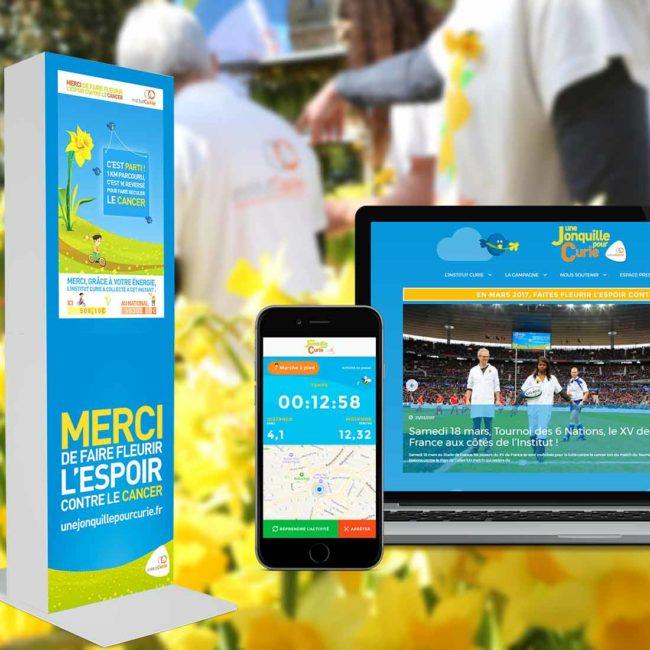 Développement mobile et web pour Une jonquille pour Curie